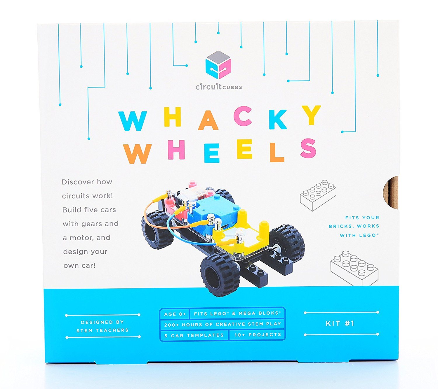 Circuit Cubes Whacky Wheels Stem Toy Lego Compatible Electronic