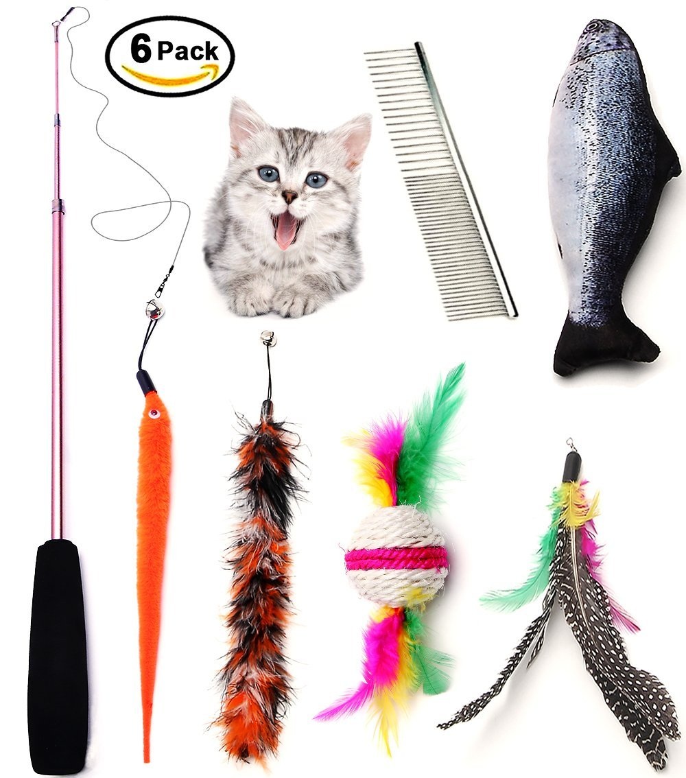 Kidsky cat toys set cat retractable teaser wand for Retractable cat toy
