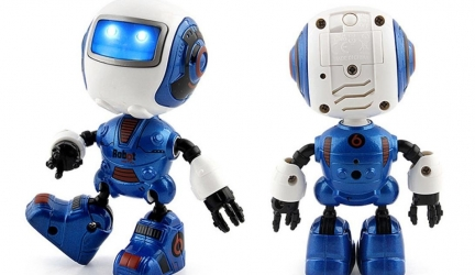Aurorax Robot Toy,Electronic Walking Dancing Music Smart Toys Lights for Kids (Blue)