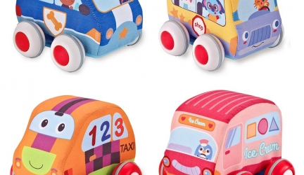 Beebeerun Car Toys Gifts for Toddlers, Kids Pull-Back Vehicle Set – Soft Baby Toy Set with 4 Cars and Trucks