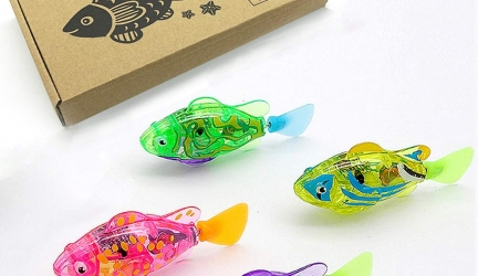 BlackHole Litter Mat Interactive Swimming Robot Fish Toy for Cat/Dog with LED Light (4 pcs), Cat & Dog Toy to Stimulate Your Pet's Hunter Instincts