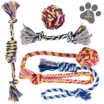 Dog Chew Toys – Puppy Teething Toys – Dog Toy Set – Rope Dog Toy – Medium and Small Dog Chew Toys – Chew Toys for Dogs – Dog Toy Pack – Washable Cotton Rope for Dogs