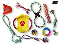 E-Z Go 10 Piece Dog Toys Value Pack – Rope Toys – Ball Toys – Squeaky Toys – Rubber Chew Toys – for Teething and Training Healthy & Happy Small, Medium and Large Dogs and Puppies
