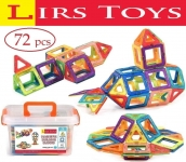 LIRS TOYS Magnetic Building Blocks Toy – 72 pcs Set of Fun, Creative, Educational 3D Construction. Plastic Tiles for Kids Age 3+ with Carry Case and Alphabet Squares. For Boys and Girls