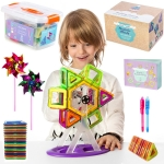 Magnetic Blocks Educational Building Tiles | Toy Set For Kids, Boys & Girls | Magnetic Shapes Set: 102 BPA Free ABS Blocks, in Storage Box, 2 Party Pinwheels, 2 Invisible Ink Pens & Instructions