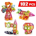 Magnetic Tiles Building Blocks 102 pcs with Wheels and Ferris Wheel Set For Kids, Educational Toys for Creativity and Learning – Mini Magical Magnet by Habest