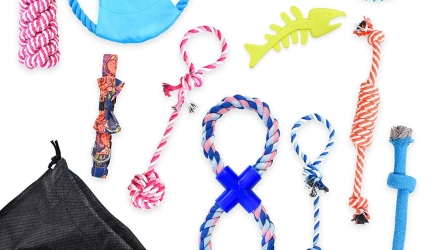 MArieL store Indoor and Outdoor Dog Toys with Comfy Bowtie Dog Collar – Durable Rope Chew Toy Set of 10 for Small and Medium Breed Dogs – Washable Puppy Toys for Aggressive Chewers