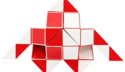 Mipartebo Magic Snake Cube Ruler Puzzles 48 Wedges Brain Teaser Twist Toys White and Red