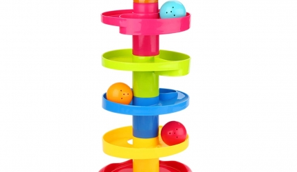 Peradix Ball Drop Toys Swirl Ball Tower Roll Swirling Ramp for Baby and Toddler Development Educational Toys, Stack, Drop and Go Ball Ramp Toy Set Includes 3 Spinning Activity Rattle Balls with Bells