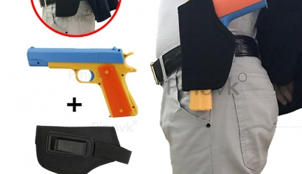Pinovk Colt 1911 Toy Gun with 10 Colorful Soft Bullets, Ejecting Magazine and Pull Back Action Blue