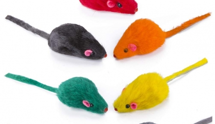 Yangbaga Real Fur Mice Rattle 14 Pack, Cat Toys Rainbow Mice Rabbit Feather for Cats and Kittens