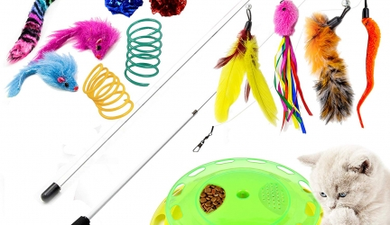 Youngever Luxury Cat Toys Assortment, Cat Play Station, Natural Feather Teaser Wand, Cat Springs, Crinkle Balls, Fluffy Mouses for Cat, Puppy, Kitty, Kitten