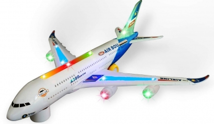 Zviku Kids airplane A380 toy plane self driving bump & go Airbus – Contains Beautiful 3D Light and Jet engine – Changes Direction On Contact – Great Gift toy for boys & girls age 2 – 8 years old